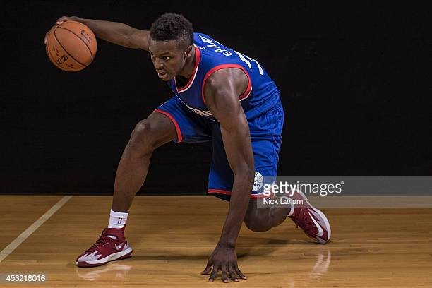 Jerami Grant of the Philadelphia 76ers poses for a portrait during the 2014 NBA rookie photo shoot at MSG Training Center on August 3 2014 in...