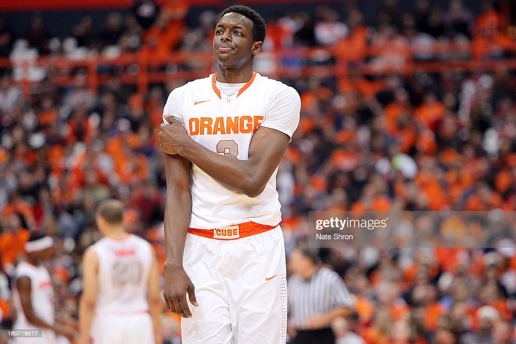 Jerami Grant #3 of the Syracuse Orange looks on during a break in play in the game against the Notre Dame Fighting Irish at the Carrier Dome on February 4, 2013 in Syracuse, New York.
