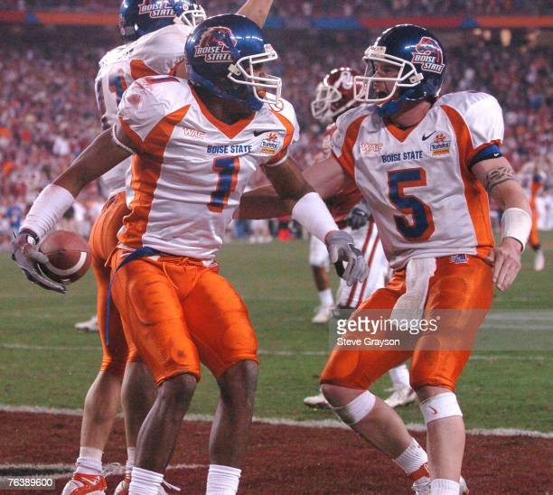 Jerard Rabb and Jared Zabransky of Boise State celebrate after Rabb's score during their win over Oklahoma in the 2006 Fiesta Bowl at Universtity of...