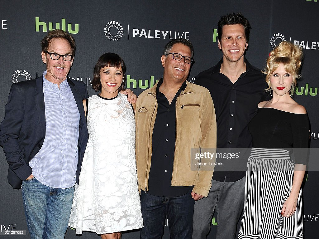 Jere Burns Rashida Jones Ira Ungerleider Hayes MacArthur and Andree Vermeulen attend an evening with 'Angie Tribeca' at The Paley Center for Media on...