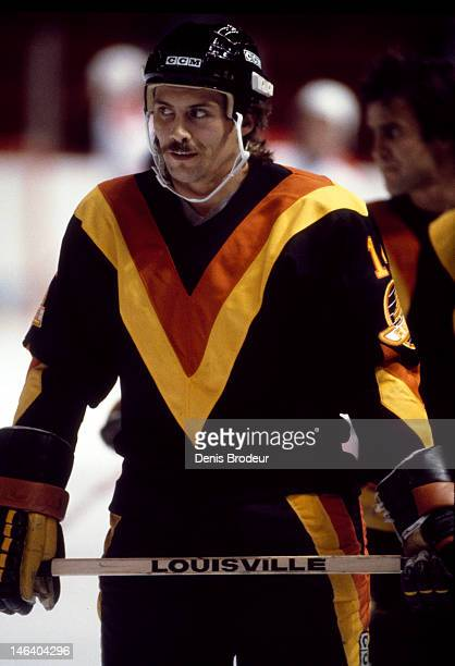 Jere Gillis of the Vancouver Canucks skates prior to the start of a game against the Montreal Canadiens Circa 1977 at the Montreal Forum in Montreal...