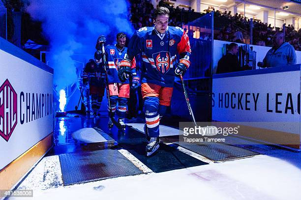 Jere Karjalainen of Tappara Tampere takes to the ice prior to the Champions Hockey League round of thirtytwo game between Tappara Tampere and...