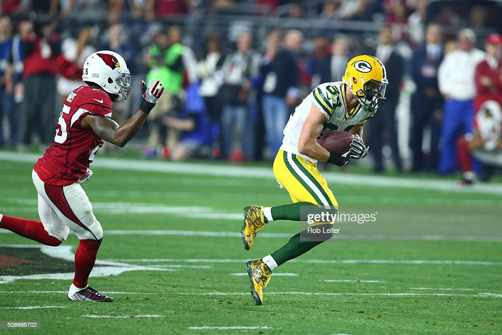 Jered Abbrederis #84 of the Green Bay Packers in action during the game against the Arizona Cardinals at University of Phoenix Stadium on January 16, 2016 in Glendale, Arizona. The Cardinals defeated the Packers 26-20.