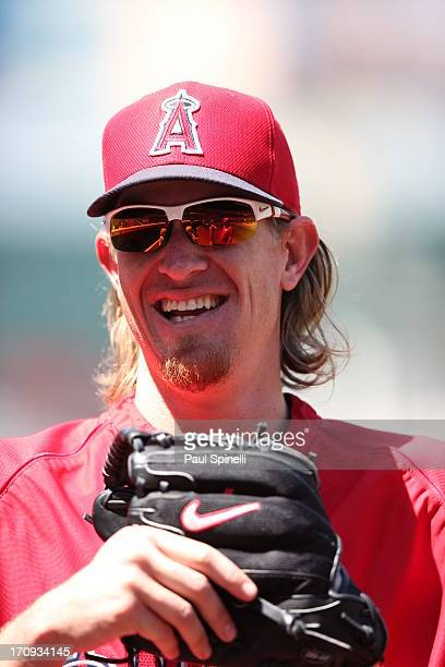 Jered Weaver of the Los Angeles Angels of Anaheim is seen during batting practice before the game against the Chicago Cubs on Wednesday June 5 2013...