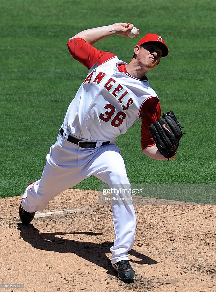 Jered Weaver #36 of the Los Angeles Angels of Anaheim pitches against the Seattle Mariners at Angel Stadium of Anaheim on May 29, 2010 in Anaheim, California.