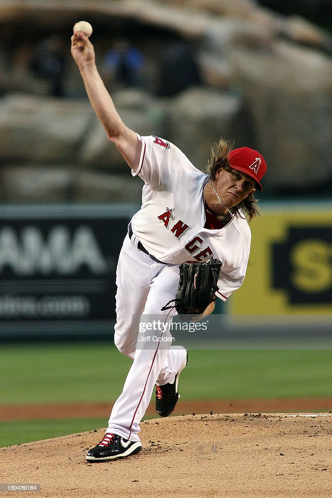 <a gi-track='captionPersonalityLinkClicked' href=/galleries/search?phrase=Jered+Weaver&family=editorial&specificpeople=565100 ng-click='$event.stopPropagation()'>Jered Weaver</a> #36 of the Los Angeles Angels of Anaheim pitches against the Tampa Bay Rays in the first inning at Angel Stadium of Anaheim on August 17, 2012 in Anaheim, California.