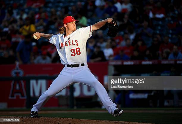 Jered Weaver of the Los Angeles Angels of Anaheim pitches against the Chicago Cubs at Angel Stadium of Anaheim on June 4 2013 in Anaheim California