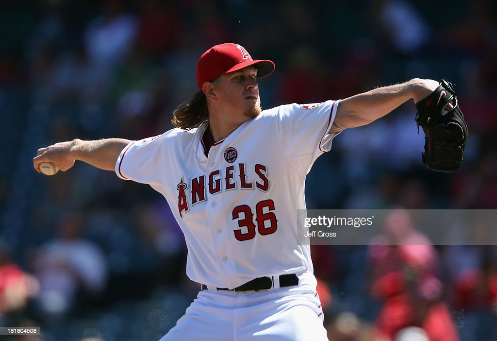 <a gi-track='captionPersonalityLinkClicked' href=/galleries/search?phrase=Jered+Weaver&family=editorial&specificpeople=565100 ng-click='$event.stopPropagation()'>Jered Weaver</a> #36 of the Los Angeles Angels of Anaheim pitches against the Oakland Athletics in the second inning at Angel Stadium of Anaheim on September 25, 2013 in Anaheim, California.
