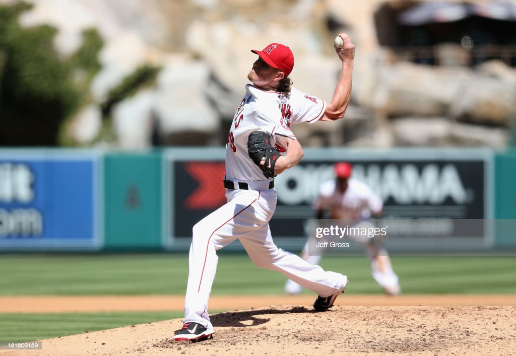 <a gi-track='captionPersonalityLinkClicked' href=/galleries/search?phrase=Jered+Weaver&family=editorial&specificpeople=565100 ng-click='$event.stopPropagation()'>Jered Weaver</a> #36 of the Los Angeles Angels of Anaheim pitches against the Oakland Athletics in the fourth inning at Angel Stadium of Anaheim on September 25, 2013 in Anaheim, California.