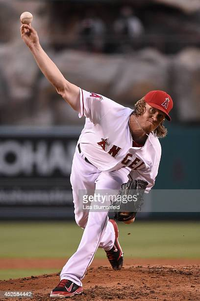 Jered Weaver of the Los Angeles Angels of Anaheim pitches against the Baltimore Orioles at Angel Stadium of Anaheim on July 23 2014 in Anaheim...