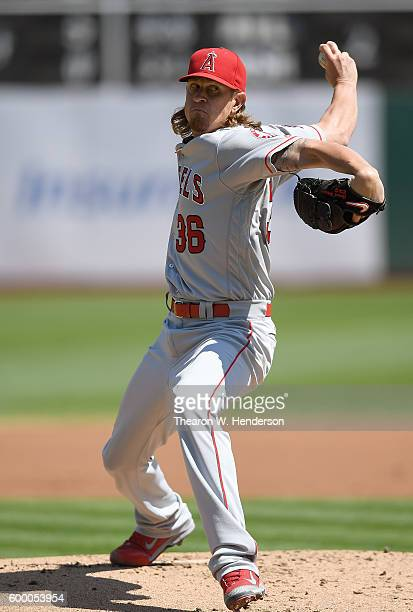 Jered Weaver of the Los Angeles Angels of Anaheim pitches against the Oakland Athletics in the bottom of the first inning at OaklandAlameda County...