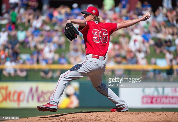 Jered Weaver of the Los Angeles Angels of Anaheim pitches during the game against the Chicago Cubs on March 4 2016 at Sloan Park in Mesa Arizona