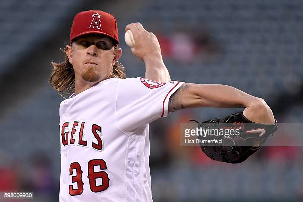 Jered Weaver of the Los Angeles Angels of Anaheim pitches in the first inning against the Cincinnati Reds at Angel Stadium of Anaheim on August 30...