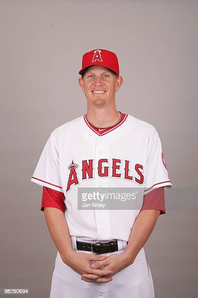 Jered Weaver of the Los Angeles Angels of Anaheim poses during Photo Day on Thursday February 25 2010 at Tempe Diablo Stadium in Tempe Arizona