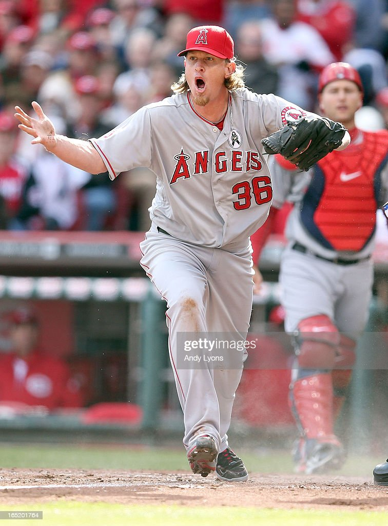 <a gi-track='captionPersonalityLinkClicked' href=/galleries/search?phrase=Jered+Weaver&family=editorial&specificpeople=565100 ng-click='$event.stopPropagation()'>Jered Weaver</a> #36 of the Los Angeles Angels of Anaheim reacts after Shin-Soo Choo of the Cincinnati Reds was called safe at hompe plate at Great American Ball Park on April 1, 2013 in Cincinnati, Ohio.