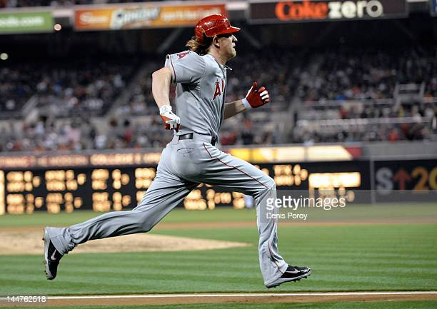 Jered Weaver of the Los Angeles Angels of Anaheim sprints enroute to scoring during the fifth inning of a baseball game against the San Diego Padres...