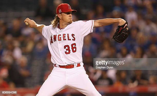 Jered Weaver of the Los Angeles Angels of Anaheim throws a pitch in the first inning against the Toronto Blue Jays at Angel Stadium of Anaheim on...