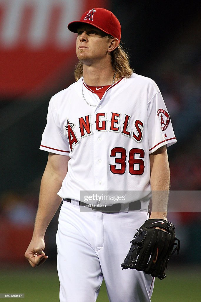 <a gi-track='captionPersonalityLinkClicked' href=/galleries/search?phrase=Jered+Weaver&family=editorial&specificpeople=565100 ng-click='$event.stopPropagation()'>Jered Weaver</a> #36 of the Los Angeles Angels of Anaheim walks to the dugout against the Tampa Bay Rays after the third out in the second inning at Angel Stadium of Anaheim on August 17, 2012 in Anaheim, California.