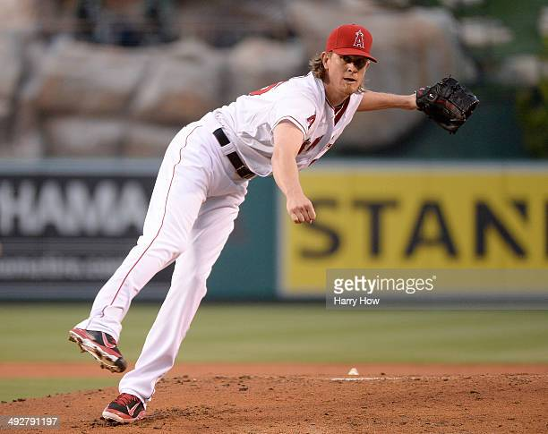Jered Weaver of the Los Angeles Angels pitches against the Houston Astros during the first inning at Angel Stadium of Anaheim on May 21 2014 in...