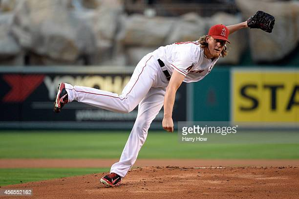 Jered Weaver of the Los Angeles Angels pitches against the Kansas City Royals in the first inning during Game One of the American League Division...