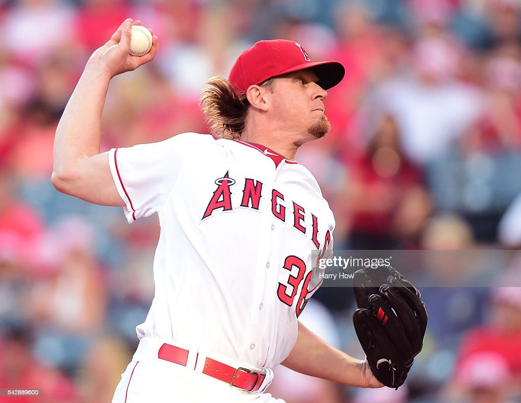 <a gi-track='captionPersonalityLinkClicked' href=/galleries/search?phrase=Jered+Weaver&family=editorial&specificpeople=565100 ng-click='$event.stopPropagation()'>Jered Weaver</a> #36 of the Los Angeles Angels pitches against the Oakland Athletics during the first inning at Angel Stadium of Anaheim on June 24, 2016 in Anaheim, California.