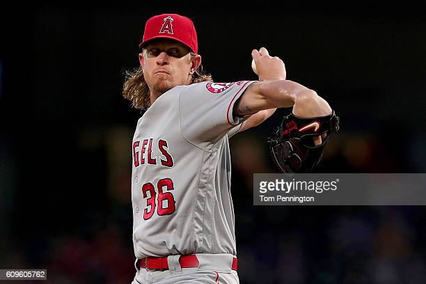 Jered Weaver of the Los Angeles Angels pitches against the Texas Rangers in the bottom of the first inning at Globe Life Park in Arlington on...