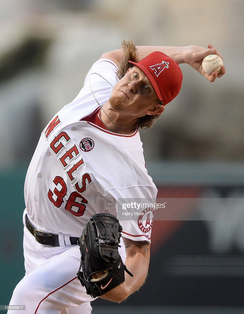 Jered Weaver #36 of the Los Angeles Angels pitches during the first inning against the Oakland Athletics at Angel Stadium of Anaheim on July 19, 2013 in Anaheim, California.