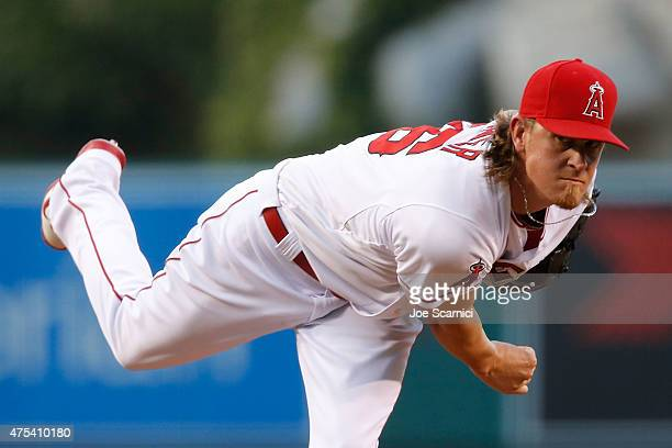 Jered Weaver of the Los Angeles Angels pitches in the second inning against the Detroit Tigers at Angel Stadium of Anaheim on May 30 2015 in Anaheim...