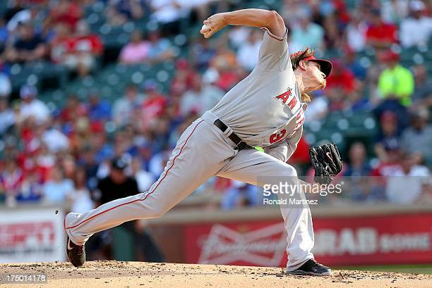 Jered Weaver of the Los Angeles Angels throws against the Texas Rangers at Rangers Ballpark in Arlington on July 29 2013 in Arlington Texas