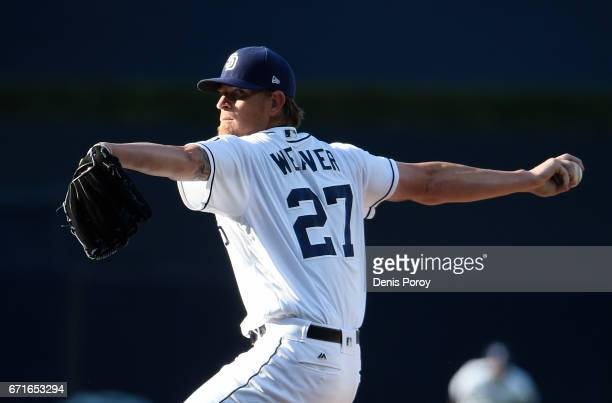 Jered Weaver of the San Diego Padres pitches during the first inning of a baseball game against the Miami Marlins at PETCO Park on April 22 2017 in...