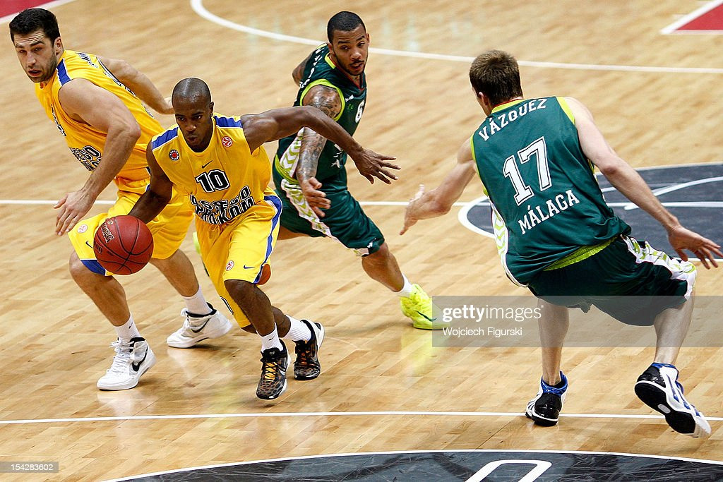 Jerel Blassingame, #10 of Asseco Prokom Gdynia competes with Marcus Williams, #6 of Unicaja Malaga during the 2012-2013 Turkish Airlines Euroleague Regular Season Game Day 2 between Asseco Prokom Gdynia v Unicaja Malaga at Ergo Arena on October 17, 2012 in Sopot, Poland.