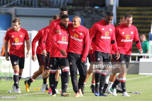 Jeremain Lens and Wahbi Khazri of Sunderland embrace as theywarm up during the preseason friendly match between Sunderland and Hartlepool at Victoria...