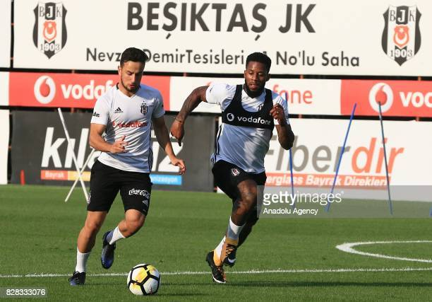 Jeremain Lens of Besiktas attends a training session ahead of the Turkish Spor Toto Super Lig new season match between Besiktas and Antalyaspor at...