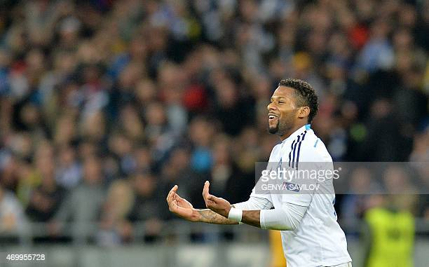 Jeremain Lens of FC Dynamo Kyiv reacts after scoring a goal against ACF Fiorentina during their UEFA Europa League quarterfinal first leg match in...