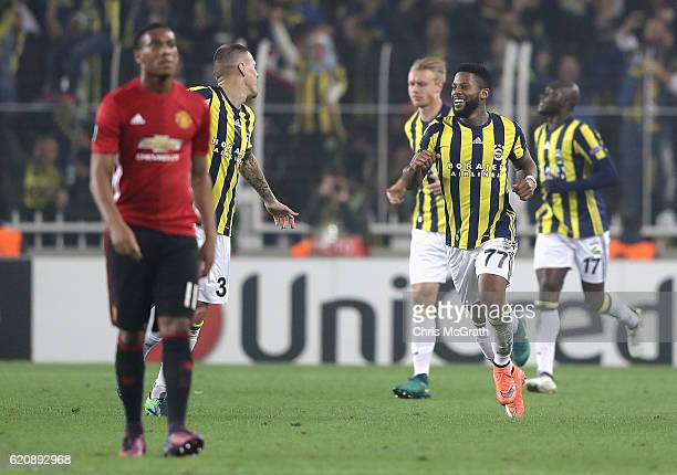 Jeremain Lens of Fenerbahce celebrates scoring his sides second goal during the UEFA Europa League Group A match between Fenerbahce SK and Manchester...