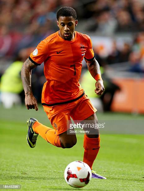 Jeremain Lens of Holland during the FIFA 2014 World Cup Qualifing match between Holland and Hungary at Amsterdam Arena on October 11 2013 in...