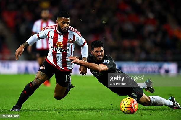Jeremain Lens of Sunderland battles for the ball with Emre Can of Liverpool during the Barclays Premier League match between Sunderland and Liverpool...