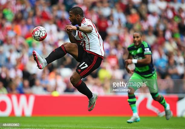 Jeremain Lens of Sunderland controls the ball during the Barclays Premier League match between Sunderland and Swansea City at the Stadium of Light on...