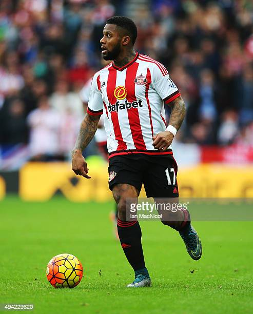 Jeremain Lens of Sunderland controls the ball during the Barclays Premier League match between Sunderland and Newcastle at The Stadium of Light on...