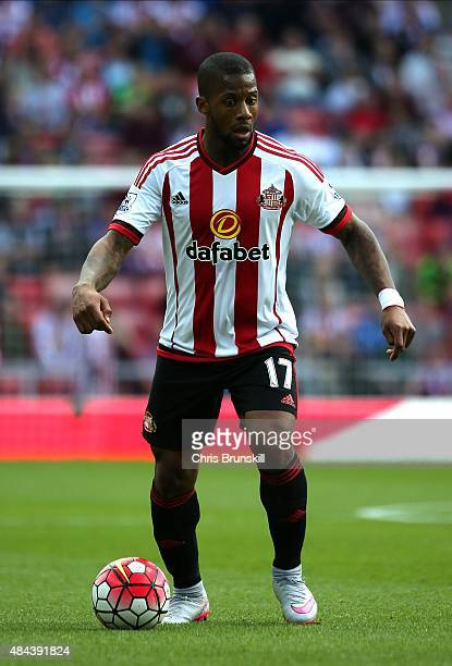 Jeremain Lens of Sunderland in action during the Barclays Premier League match between Sunderland and Norwich City at Stadium of Light on August 15...