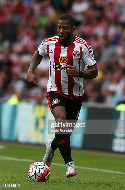 Jeremain Lens of Sunderland in action during the Barclays Premier League match between Sunderland and Swansea City at Stadium of Light on August 22...
