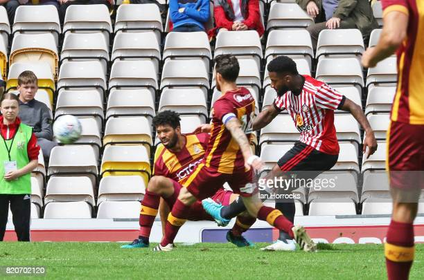 Jeremain Lens of Sunderland scoring the second goal during a preseason friendly match between Bradford City and Sunderland AFC at the Coral Windows...