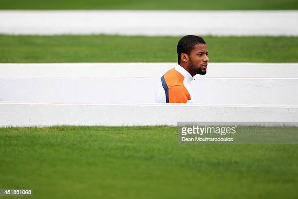 Jeremain Lens walks out of the tunnel during the Netherlands training session at the 2014 FIFA World Cup Brazil held at the Estadio Paulo Machado de...