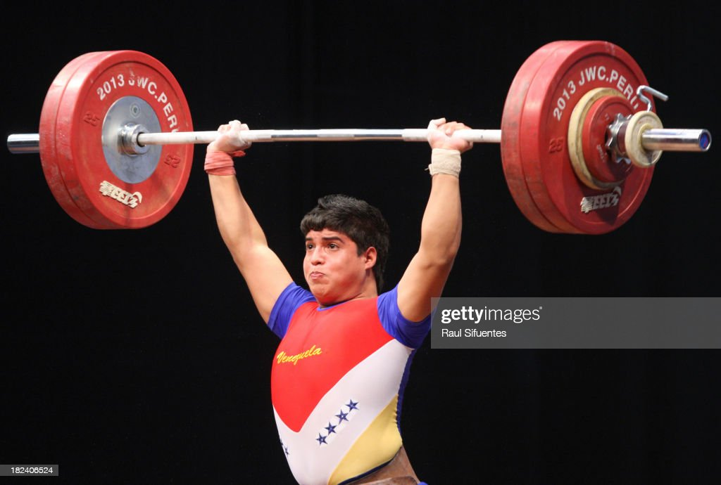 Jeremi Pi–ña Velazco of Venezuela competes in Men's 85kg Final as part of the I ODESUR South American Youth Games at Coliseo Miguel Grau on September 29, 2013 in Lima, Peru.