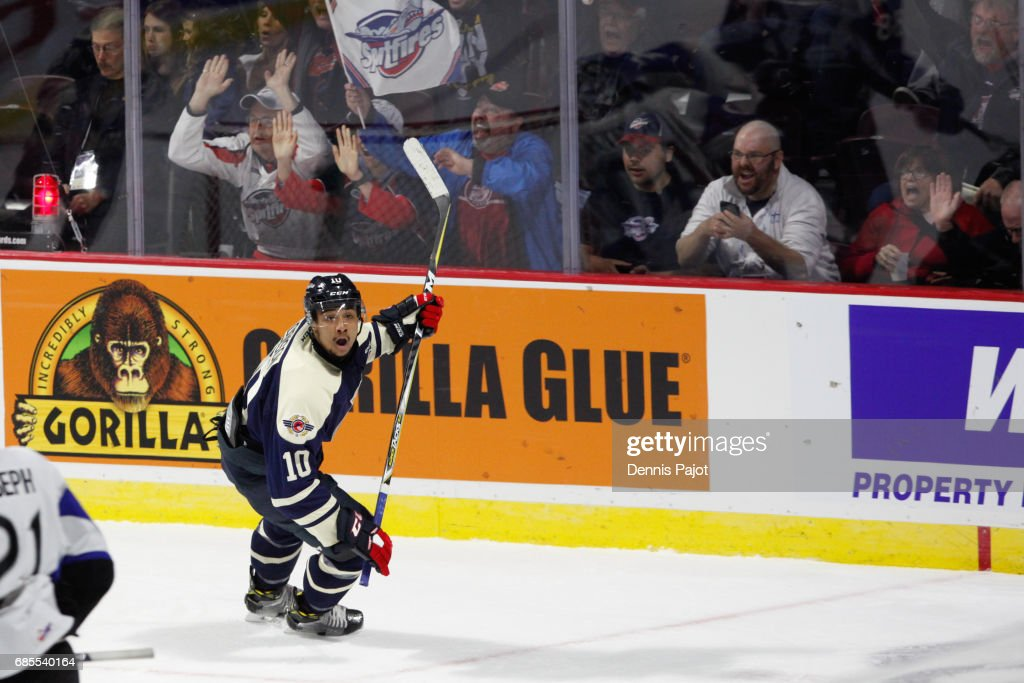 Jeremiah Addison #10 of the Windsor Spitfires celebrates his first period goal against the Saint John Sea Dogs on May 19, 2017 during Game 1 of the Mastercard Memorial Cup at the WFCU Centre in Windsor, Ontario, Canada.