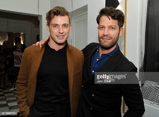 Jeremiah Brent and Interior Designer Nate Berkus attend Preen by Thornton Bregazzi private dinner hosted by Brigette Romanek and Estee Stanley on...