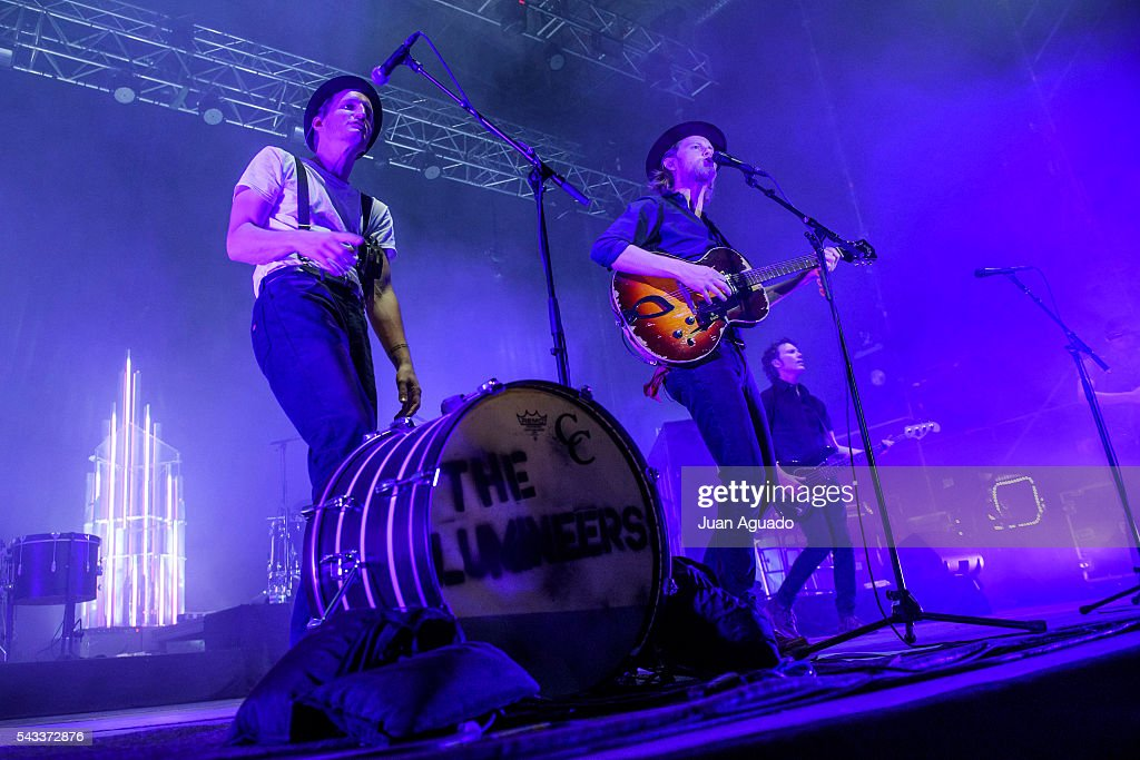 Jeremiah Caleb Fraites and Wesley Keith Schultz of The Lumineers perform on stage at Jardines del Botanico in Madrid on June 27, 2016 in Madrid, Spain.