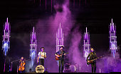 Jeremiah Caleb Fraites Wesley Schultz and Neyla Pekarek of The Lumineers perform at Festival D'ete De Quebec on July 7 2016 in Quebec City Canada