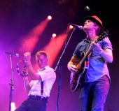 Jeremiah Fraites and Wesley Schultz of The Lumineers perform at day two of the Lowlands Festival on August 17 2013 in Biddinghuizen Netherlands