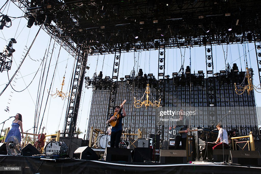 Jeremiah Fraites, Ben Wahamaki, Stelth Ulvang and Neyla Pekarek and Wesley Schultz of The Lumineers performs on stage at 2013 Coachella Music Festival on April 21, 2013 in Indio, California.
